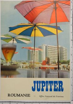 "Original vintage poster - Travel and tourism ""Jupiter"", Romania, anni Vintage Travel Posters, Vintage Ads, Travel Illustration, Black Sea, Travel And Tourism, Creepy, Coast, Patio, City"