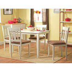 Enhance yoru dining or kitchen area with this five-piece Stratton dining set.  This set features clean and simple lines perfect for any decor.