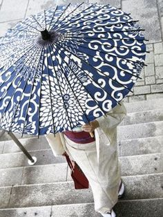 Japanese blue and white parasol