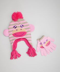 http://www.zulily.com/invite/vhanson979 Love this Pink Monkey Earflap Beanie & Gloves on #zulily! #zulilyfinds