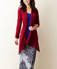 This Burgundy Sidetail Cardigan by Casa Lee is perfect! #zulilyfinds