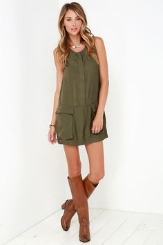 Magical Moments Olive Green Sleeveless Dress at Lulus.com!