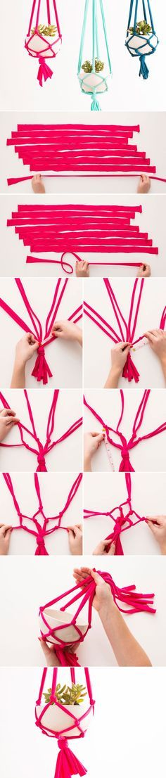 I used to love these at my grandma's home, these look more modern with the colors. DIY your own macrame hanging vase with this tutorial.