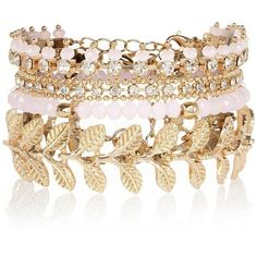 River Island Gold tone mixed bracelet pack ($24) ❤ liked on Polyvore featuring jewelry, bracelets, leaf jewelry, leaves jewelry, river island, yellow gold jewelry and gold leaf jewelry