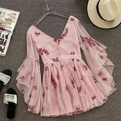 V-neck Flare Sleeve Flower Short Ruched Mini Pink Chiffon Dress SE – deevybuy Clothes Teen Fashion Outfits, Trendy Outfits, Fashion Dresses, Cute Outfits, Style Fashion, Stylish Dresses, Cute Dresses, Casual Dresses, Pink Dresses