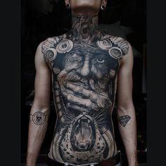Photo by (dongtribal) on Instagram   #tattoo #tattooartist #portrait #portraittattoo #oldman #tribal #indian #tigertattoo #pumatattoo #animaltattoo #beartattoo #blackandgrey #blackandgreytattoo #neotraditionaltattoo #colourtattoo #ink #realistictattoo #artwork #fantasytattoo #photooftheday #nghethuatxamthuduc #xamnghethuat #thuduc #thc #thuducdistrict #vietnam #asian #instagram Fantasy Tattoos, Colour Tattoo, Tiger Tattoo, Neo Traditional Tattoo, Black And Grey Tattoos, Cover Design, Tattoo Artists, Vietnam, Tattoo Designs
