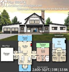 Plan Country Inspired 3 Bedroom Farmhouse Plan With Main Floor Master Plan Country Inspired 3 Bedroom Farmhouse Plan With Main Floor Master Enjoy Country Living At Its Best With This Thoughtfully Designed Farmhouse Plan Which Features Striking Stone Pole Barn House Plans, Pole Barn Homes, New House Plans, Dream House Plans, House Floor Plans, Barn Plans, Barn Style House Plans, Simple Floor Plans, Shop House Plans