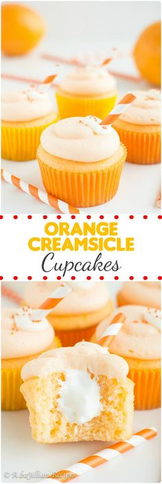 These light and fluffy Orange Creamsicle Cupcakes are filled with a marshmallowy creme filling and topped with a sweet orange vanilla cream cheese frosting! It's like eating an Orange Creamsicle in cupcake form! | A baJillian Recipes