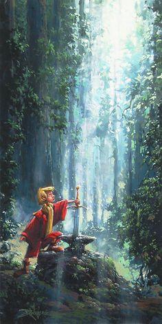 Rodel Gonzalez Disney Art, Rodel Gonzalez Original Art, Arthur's Royal Destiny, New Release, 20 x10 Original Oil on Canvas
