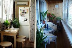 Cooler kleiner Balkon – 40 kreative und praktische Ideen - terrasse balkon winzig kompakt idee tisch hocker kühlschrank
