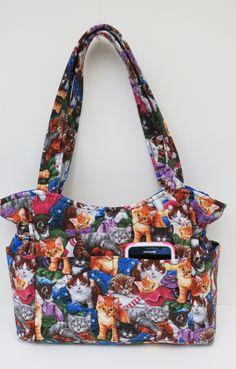Multi Cat Purse, Quilted Handbag, Blue Cat Purse, Shoulder Bag, Animal Handbag, Gifts Under 50, Cat Purse, Baby Bag, Tote Bag, Slang Bag by JustBeautiful161 on Etsy
