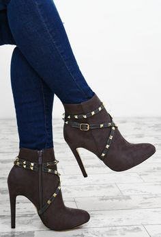 31bdb980e2db Booty Camp Grey Faux Suede Studded Ankle Boots - UK 3