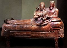 """Sarcophagus of the Spouses"" Late 6th Century BCE in Villa Giulia, Rome. The Etruscans were in power from the 8th to 3rd century B.C.E, and habitually built their cities on hills. The most noteworthy artistic pieces from the Etruscan gravesites are their terracotta sarcophagi. Click through to see more about this remarkable civilization, whose writing we still cannot read."