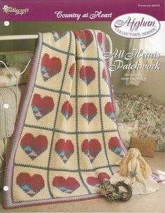 Crochê Malha itens decorativos Criações todos os Corações dos Retalhos Afegão de Colecionador -  /   Crocheting All Hearts Patchwork Afghan Collector's  Knit Knacks Creations -