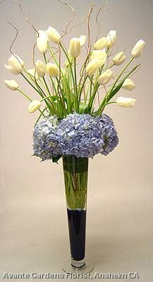 French tulips, blue hydrangea, willow