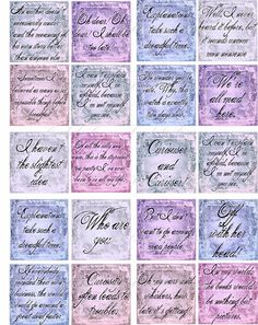 Vintage 40 Alice in Wonderland sayings quotes party favors tags scrapbooking bag #Handmade