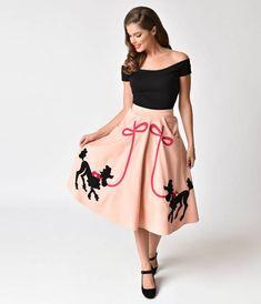 Unique Vintage 1950s Peach Pink Soda Shop Poodle Swing Skirt