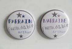 SPECIAL PARRAIN MARRAINE formidable - Lot de 2 Magnets 56mm - Marine et Lavande : Décorations murales par les-murs-murmurent