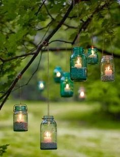 Vintage hanging candles using mason jars and tealights. This would be so pretty as party lighting in the back yard.