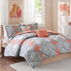 Cozy Soft® Mia Comforter Set in Coral/Grey/White - BedBathandBeyond.com