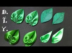 DIY Satin ribbon rose, satin ribbon flower tutorial,how to,kanzashiHow to make ribbon leaves I Green leaves tutorial I DIY kanzashi Hello everyone ,enjoy my new tutorial on how to make green ribbon leaves.They are perfect finish for ribbon or fabric flowe Satin Ribbon Flowers, Ribbon Art, Fabric Ribbon, Ribbon Crafts, Flower Crafts, Fabric Flowers, Satin Ribbons, Diy Crafts, Green Ribbon