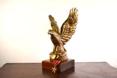 Brass Eagle Statue Vintage Brass American Eagle  by Vintassentials