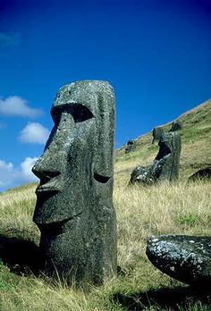 EASTER ISLAND by Jennifer Vanderbes looks the moai statues to tell how it was discovered how these behemoths were made and transported to their sites around the island .