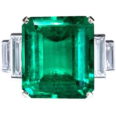 16.68 Carat Emerald Diamond Platinum Ring | From a unique collection of vintage engagement rings at https://www.1stdibs.com/jewelry/rings/engagement-rings/