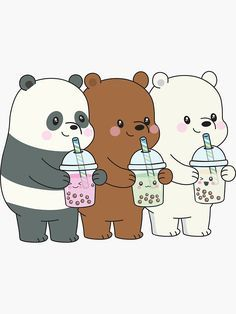 Cute Wallpapers Discover We Bare Bears Sticker by plushism Cute Panda Wallpaper, Cartoon Wallpaper Iphone, Bear Wallpaper, Cute Patterns Wallpaper, Cute Disney Wallpaper, Kawaii Wallpaper, Cute Wallpaper Backgrounds, Animal Wallpaper, Cute Images For Wallpaper