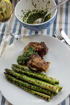A lovely spring recipe: Fresh meets mature - Mutton braised in sherry, garlic and rosemary, with char-grilled asparagus and salsa verde