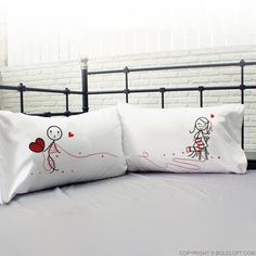 BoldLoft Love Ties Us Together Couples Pillowcases- A whimsical Christmas gift for boyfriend and husband. Christmas Gifts For Boyfriend, Gifts For Your Boyfriend, Valentines Day Gifts For Him, Couple Pillowcase, Whimsical Christmas, Romantic Gifts, Couple Gifts, Pillowcases, Bed Pillows