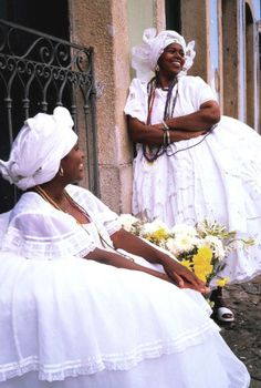 Local women in beautiful traditional dress, Salvador, Bahia.