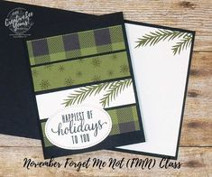 Today I am sharing the BONUS card my Paper Pumpkin subscribers got to make at my November FMN class featuring the October 2017 Paper Pumpkin Pining for Plaid stamp set. I love offering an extra project at class just for my subscribers.