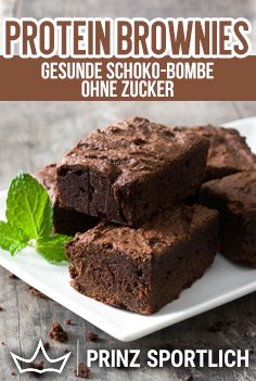 Protein Brownies: Healthy Chocolate Bomb Without Sugar - Easy Low Carb Rezepte - Treat yourself to these protein brownies. You can find the recipe on my website! Desserts Keto, Protein Desserts, Protein Snacks, Healthy Protein, Healthy Dessert Recipes, Protein Dinner, Protein Recipes, Dinner Healthy, Healthy Party Snacks
