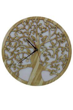 """Lebensbaum Uhr Hel aus Holz  Graviert Laser Cut Baum des Lebens """"Symbol der Kosmischen Ordnung"""" Wanddeko Holzdeko Wandbild Dekoration Deko Geschenk für Geburtstag Hochzeit Muttertag Weihnachten"""
