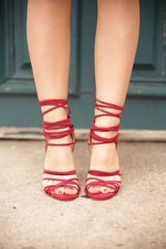 I love how comfy and stylish my new Nasty Gal Wrap Me Up Suede Heels in burgundy are!