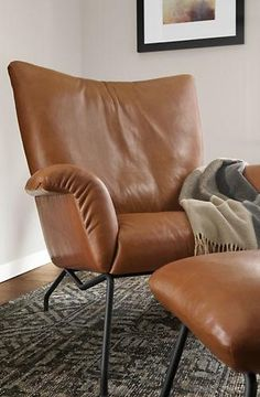 Leather lounge chair Earl with foot stool Design Pinterest
