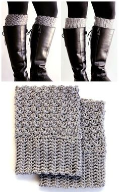Crochet Projects Design easy reversible crochet boot cuffs (free pattern) - Get the cute chunky sock look, without having the bulk in your boots. Free pattern for easy reversible crochet boot cuffs. Mode Crochet, Crochet Gratis, Crochet Boots, Crochet Motifs, Crochet Amigurumi, Crochet Slippers, Knit Or Crochet, Crochet Clothes, Quick Crochet