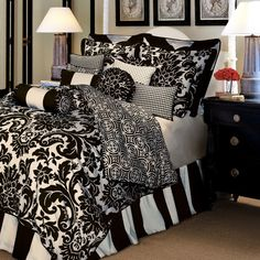 Black & White damask bedding, wide stripe bed skirt...would love to see this in eggplant/purple