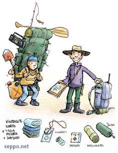 Vaellusretki – retkeilijän varustus, keywords:  vaellus vaeltaja retki tarvikkeet varustus varusteet rinkka vaihtovaatteet vaatekerta kartta kompassi ensiaputarvikkeet makuualusta teltta makuupussi pakkaaminen pilapiirros