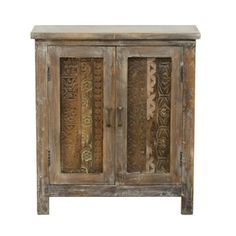 Kaya Vintage-inspired Carved Cabinet | Overstock.com Shopping - Great Deals on Kosas Collections Coffee, Sofa & End Tables