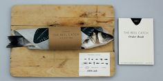 The Reel Catch brings a little design flare into seafood buying. We love the simple, clean typography and the addition of the dark graphic on the parchment paper. Designed by Jesse Harris, Edinburgh College of Art, UK Cool Packaging, Brand Packaging, Packaging Design, Branding Design, Cafe Branding, Food Branding, Packaging Ideas, Fish Monger, Print Design