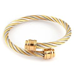 Fashion silver gold tone 316L stainless steel twist clasp cable bracelet jewelry