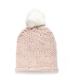 Soft mid gauge knit beanie with rolled hem in soft colors with large faux fur white pom pom on top. Cute Beanies, Faux Fur Pom Pom, Rolled Hem, Cabins In The Woods, Knit Beanie, Soft Colors, Who What Wear, Gifts For Her, Winter Hats