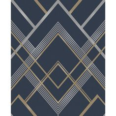 Provide a cheerful look to your wall decor with the selection of this Brewster Bradford Navy Geometric Wallpaper. Comes in an unpasted non-woven material. Blue Geometric Wallpaper, Navy Wallpaper, Trellis Wallpaper, Metallic Wallpaper, Wallpaper Samples, Blue Wallpapers, Wallpaper Roll, Pattern Wallpaper, Beautiful Wallpaper