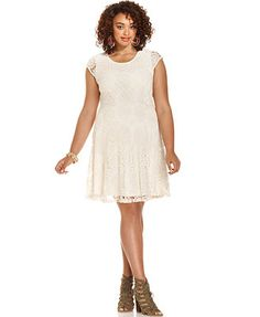 American Rag Plus Size Cap-Sleeve Crochet A-Line Dress
