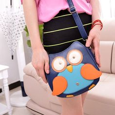 Women Cute Owl Pattern Small Shoulder Bag Blue Faux Leather Cross Body Bag , unit price of $12.24 only - Yesfor.com