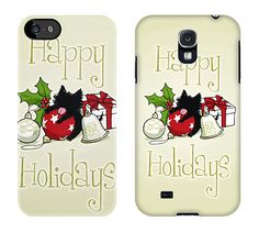 Decorations & Kitten (HappyHolidays) MobileCase #Kitten #Cat #Holiday #Mobile #iPhone #Galaxy #Case