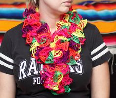 Neon Crochet Scarf Bright Colors Scarf Ruffle Ruffle by kidalia