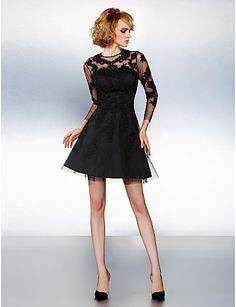 Homecoming Cocktail Party Dress - Black A-line Jewel Short/Mini Tulle 2015 – $99.99